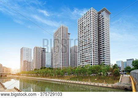High-rise Residential Houses By The River, Fuzhou Cityscape, China.