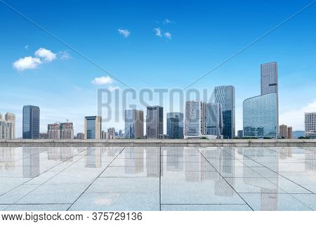 Marble Platform And City Skyline, Skyscrapers In Fuzhou, China.