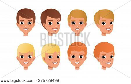 Male Heads Set, Cheerful Caucasian Boys Characters With Various Hairstyles, Frontal, Profile, Three