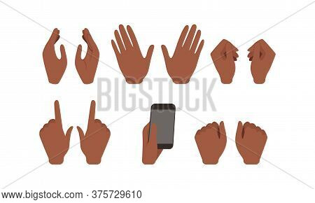 Human African American Hands Showing Different Gestures Set, Male Or Female Body Part, Constructor F
