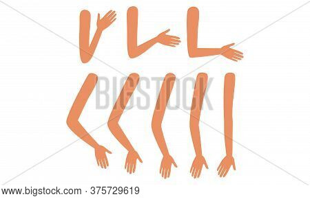 Human Arms In Various Poses Set, Male Or Female Body Part, Constructor For Animation Cartoon Style V