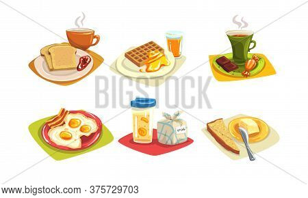 Classical Breakfast And Brunch Dishes Collection, Morning Food Menu Vector Illustration