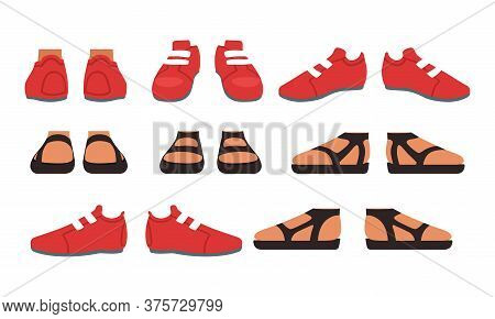 Footwear Set, Male Or Female Stylish Shoes And Sandals Cartoon Style Vector Illustration