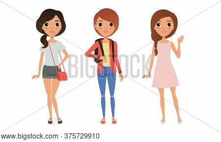 Three Girls Dressed In Trendy Clothes Standing Together, Group Of Cute Teenagers Characters Cartoon