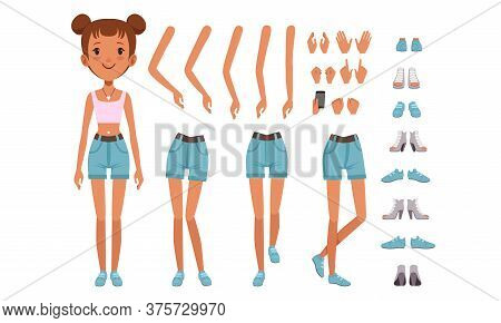 Cute Girl Constructor For Animation, Front View Of Pretty Female Character In Various Poses, Separat