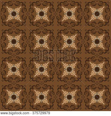 Elegance Flower Motifs On Tradisional Batik With Dark Brown Color Design