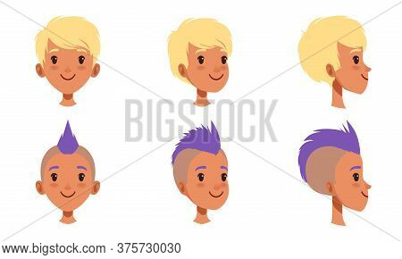 Male Heads Set, Caucasian Boy Characters With Various Hairstyles, Frontal, Profile, Three Quarter Tu