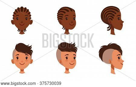 Male Heads Set, Cheerful Boys Characters With Various Hairstyles, Frontal, Profile, Three Quarter Tu