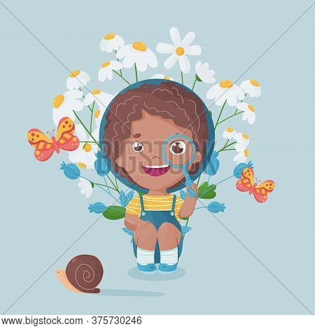 Multiracial Happy Boy With Magnifying Glass Looking At Butterfly And Snail. Vibrant Colored Postcard