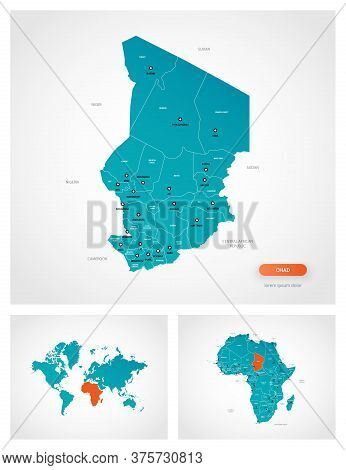 Editable Template Of Map Of Chad With Marks. Chad On World Map And On Africa Map.