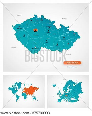 Editable Template Of Map Of Czech Republic With Marks. Czech Republic On World Map And On Europe Map