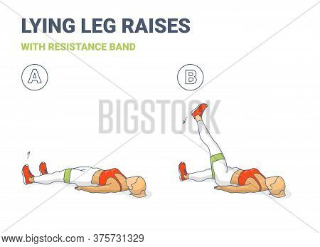 Lying Leg Lifting With Resistance Band Exercise Illustration. Colorful Concept Of Girl Doing Legs Ra