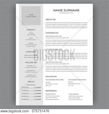 Cv / Resume Template. Clean Business Corporate Creative Resume Vector Infographic Illustration Desig
