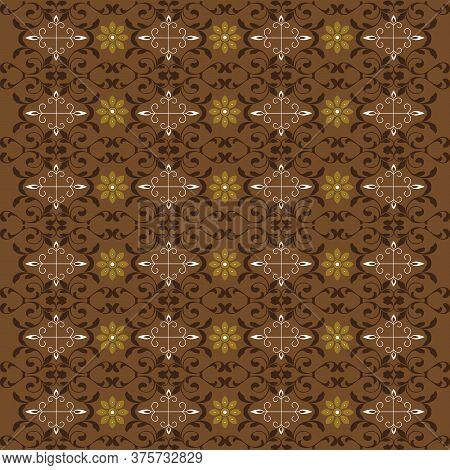 Elegant Motifs On Jogja Batik Design With Dark Brown Color