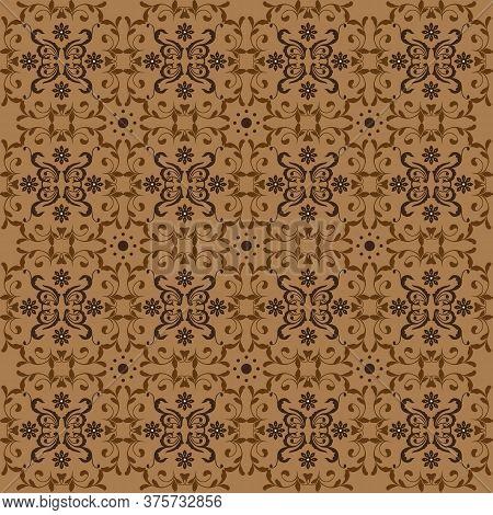 Unique Flower Motifs On Javanese Batik Design With Brown Color