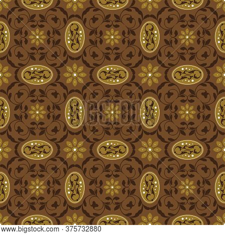 Unique Motifs On Kawung Batik Design With Dark Brown Color