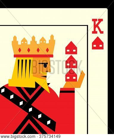 A Playing Card With A King Holding Three Houses In His Hand. A Metphor On Building A Property Empire