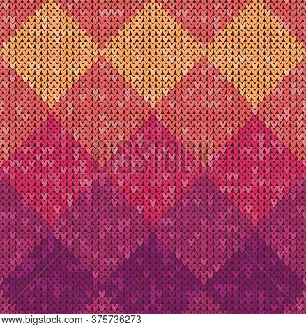 Knitting Classic Geometric Pattern. Knitted Realistic Seamless Background, Texture. Seamless Backgro