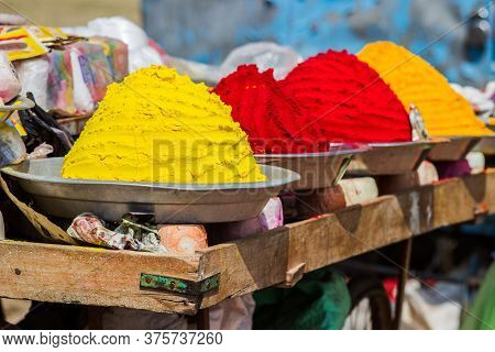 Multi-colored Indian Spices In Buckets, Indian Market
