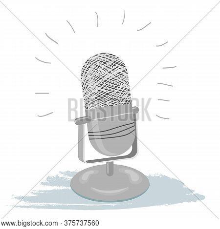 Vintage Old Classic Hand-drawn Microphone. Podcast Broadcast. Retro Radio Studio. Eps 10 Vector Illu