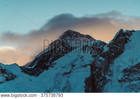 Sunrise At Everest - Mountain Landscape At The Everest Base Camp Trek In The Himalaya, Nepal. Himala