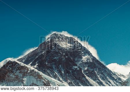 Everest Mountain Landscape At The Everest Base Camp Trek In The Himalaya, Nepal. Himalaya Landscape
