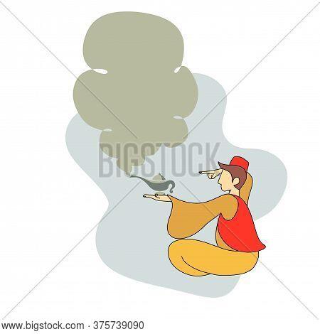 Lamp Aladdin Magic Vector Icon Smoke. Aladdin Genie Lamp Bottle Wish Cartoon Illustration