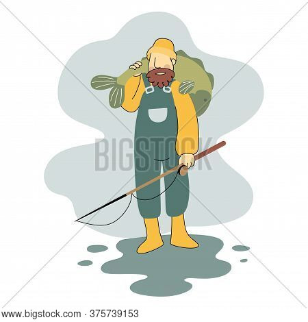 Old Fisherman Shouldered Fish, Fisherman Fishing With Fishing Rod. Fishing Equipment, Leisure And Ho