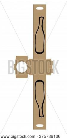 Simple Packaging Box Die Cut Cube Template For Bottle Of Wine, Champagne, Liqueur With Doodle Bottle