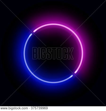 Realistic Gradient Neon Circle Frame. Pink And Blue Colored Blank Template Isolated On Black Backgro