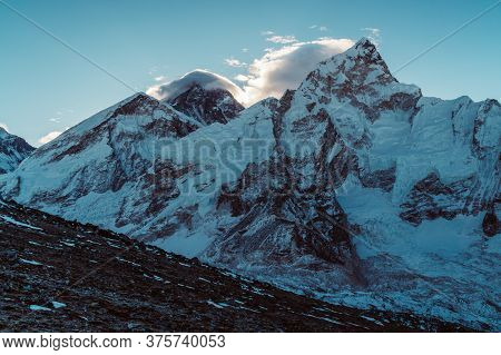 Beautifull Everest And Nuptse Mountains Landscape From The Footpath On The Everest Base Camp Trek In