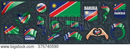 Vector Set Of The National Flag Of Namibia In Various Creative Designs