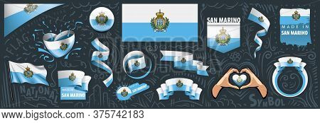 Vector Set Of The National Flag Of San Marino In Various Creative Designs