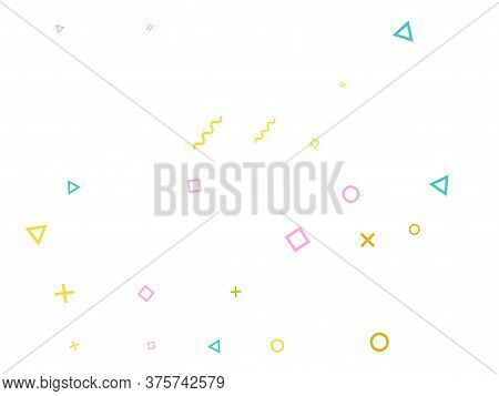 Memphis Style Geometric Confetti Vector Background With Triangle, Circle, Square Shapes, Zigzag And