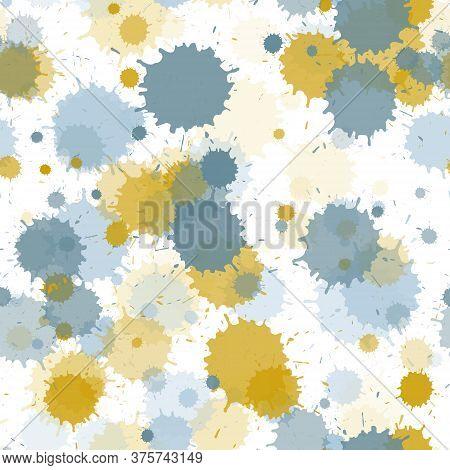 Watercolor Paint Transparent Stains Vector Seamless Wallpaper Pattern. Retro Ink Splatter, Spray Blo