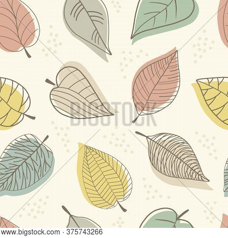 Seamless Pattern With Abstract Stylized Colorful Leaves On Beije Background