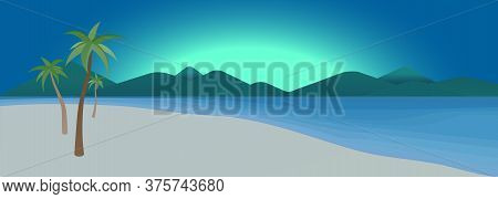 Exotic Tropical Beach - Panoramic Landscape With Dramatic Sunrise Or Sunset, Blue Ocean And Mountain