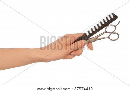 scissors and hairbrush