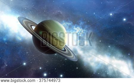 Saturn Planet In The Universe. Planet With Rings Is Called Saturn. Milky Way In The Background. 3d R