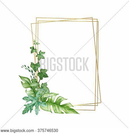 Green Leaf Arrangement With Golden Frame Watercolor Illustration. Eucalyptus, Ivy, Monstera Leaves I