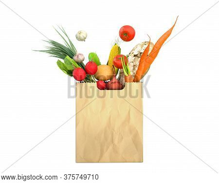 Fresh Food In A Paper Bag For Products 3d Render On White No Shadow