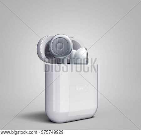 White Wireless Headphones In Charge Box 3d Render Image On Grey Gradient