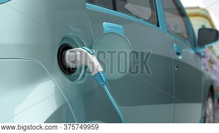 Car Charging Process Electric Car Connected To The Charging Station 3d Render Image