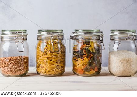 Glass Boxes And Buckwheat, Pasta, Rice, Organized Home Simple Stylish Storage No Plastic