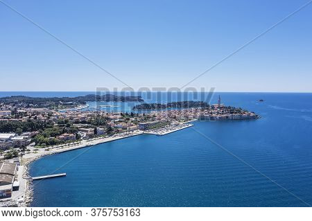 An Aerial Shot Of Old Town Rovinj, Istria, Croatia