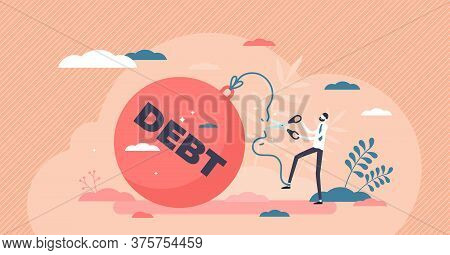 Reducing Debt Relief After Cut Financial Commitments Flat Tiny Person Concept. Economical Process Wh