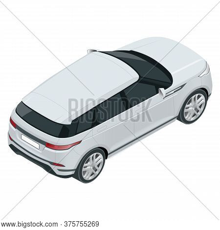 Compact Crossover, Suv, 5-door Station Wagon Car. Template Vector Isolated. View Isometric