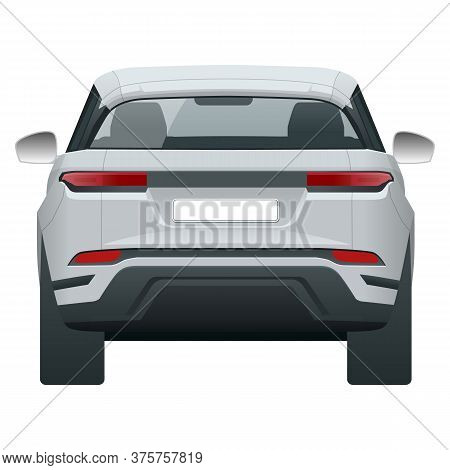 Compact Crossover, Suv, 5-door Station Wagon Car. Template Vector Isolated. View Rear