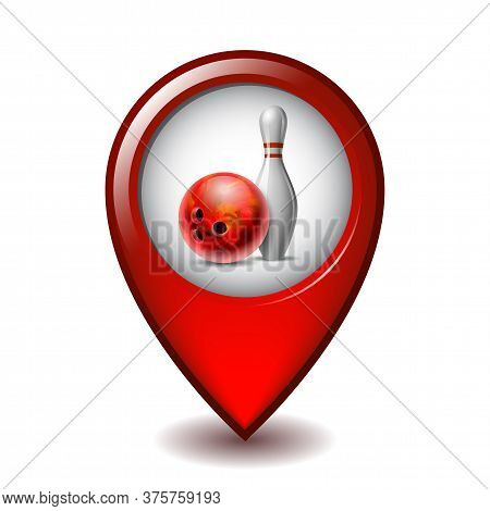 Red Glossy Bowling Ball And White Bowling Pin On Mapping Marker Vector Icon.