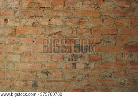 Old Red Brick Wall In The House